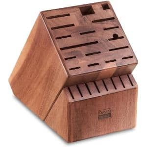 25-Slots Acacia Wood Knife Storage Block