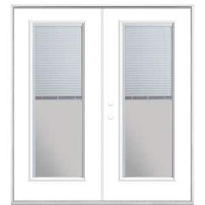 72 in. x 80 in. Ultra White Steel Prehung Right-Hand Inswing Mini Blind Patio Door without Brickmold