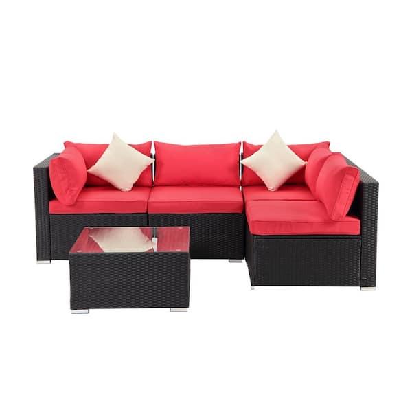 Boyel Living Black 5 Piece Pe Wicker, Reno Depot Patio Furniture Cover