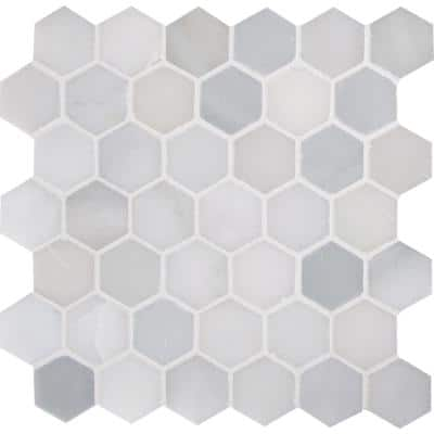 Greecian White Hexagon 12 in. x 11.75 in. x 10 mm Polished Marble Mosaic Tile (9.8 sq. ft. / case)