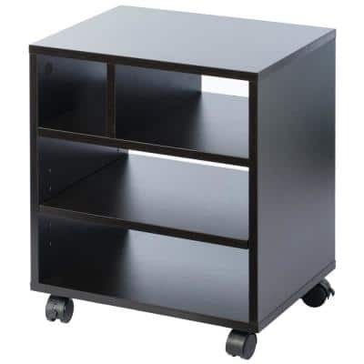 Wooden Office Storage Printer Stand with Wheels, Black