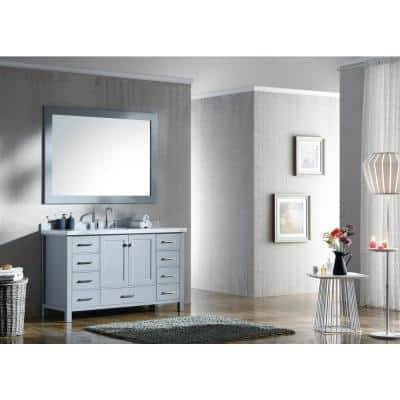 Cambridge 55 in. Bath Vanity in Grey with Marble Vanity Top in Carrara White with White Basin