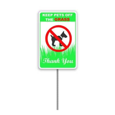 8 in. x 12 in. Keep Dog Off The Grass Yard Sign with 24 in. Stake