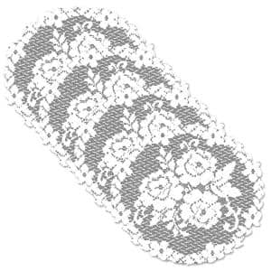 Victorian Rose 11 in. White Round Doily (Set of 4)
