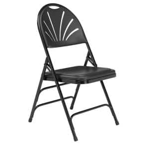 Black Plastic Fan Back Stackable Outdoor Safe Folding Chair (Set of 4)