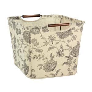 13 in. D x 11 in. H x 16 in. W Floral Fabric Cube Storage Bin