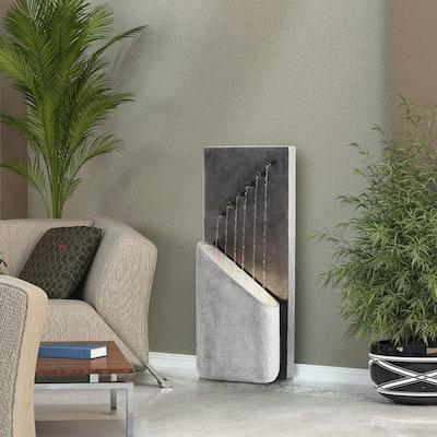40 in. Tall Indoor/Outdoor Infinity Calming Floor Fountain, Grey