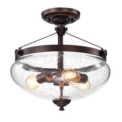 3-Light Oil Rubbed Bronze Semi-Flush Mount with Seeded Glass Shad