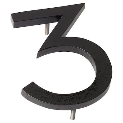 6 in. Black Aluminum Floating or Flat Modern House Number 3