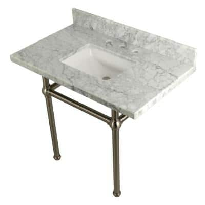 Square-Sink Washstand 36 in. Console Table in Carrara with Metal Legs in Brushed Nickel