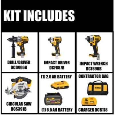 20-Volt MAX Cordless Brushless Combo Kit (2-Tool) w/ FLEXVOLT & 20V Batteries, Bonus Circular Saw & Impact Wrench