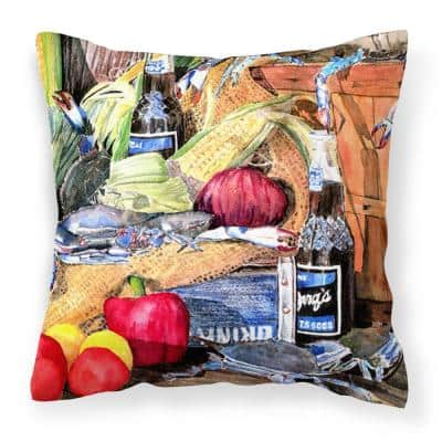 14 in. x 14 in. Multi-Color Lumbar Outdoor Throw Pillow Barq's and Crabs Decorative Canvas Fabric Pillow