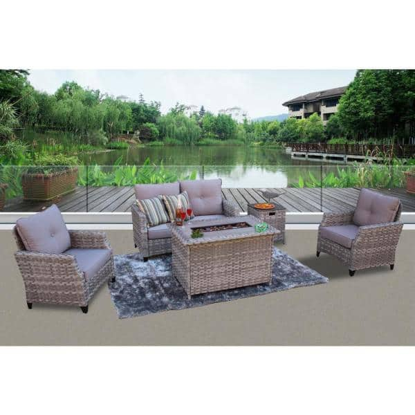 San Miguel Mixed Slate Gray 5 Piece Wicker Outdoor Deep Seating Set With Fire Pit Table And Cushions W100105cdfa200 The Home Depot