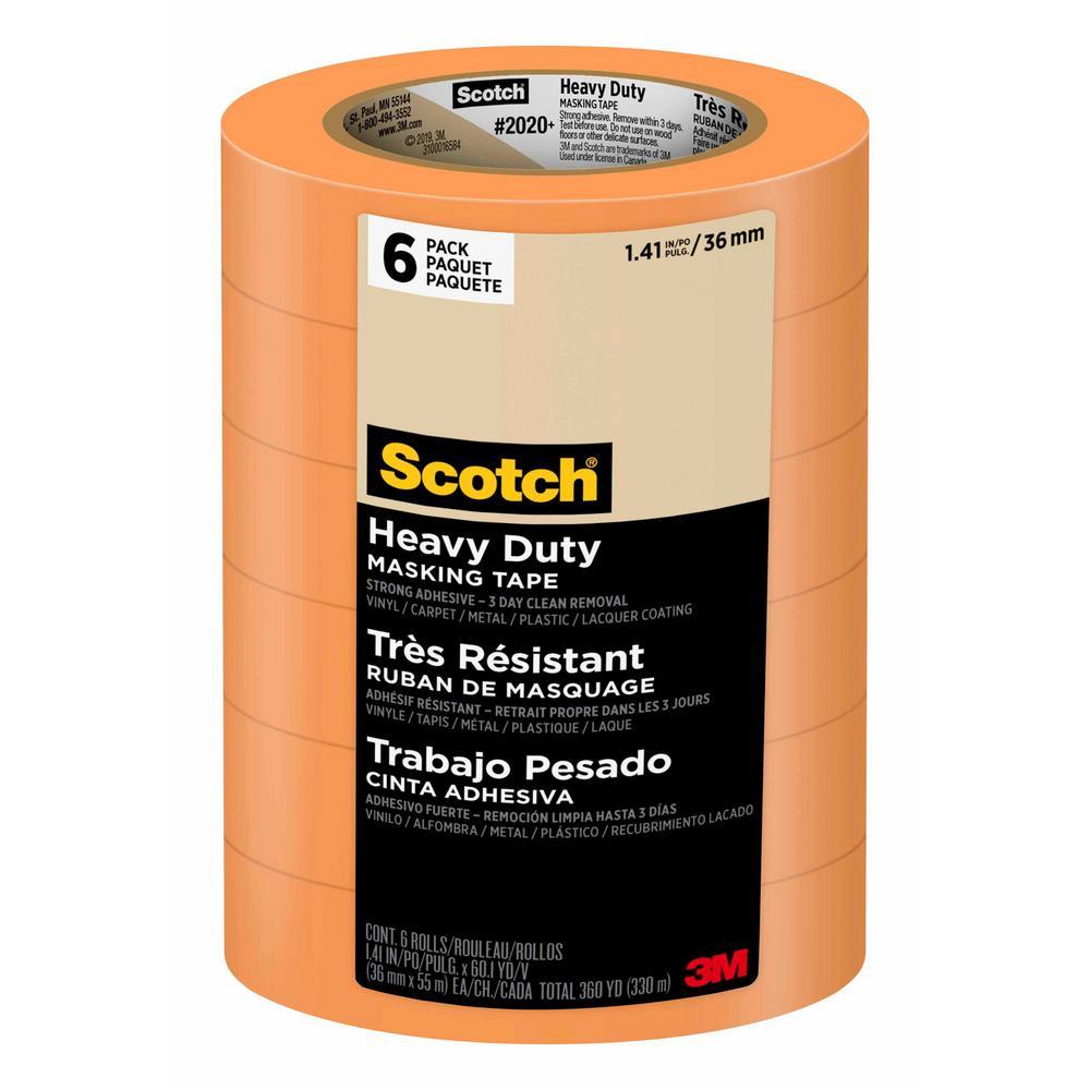 Scotch 1.41 in. x 60.1 yds. Heavy Duty Grade Masking Tape (6 Rolls/Pack)