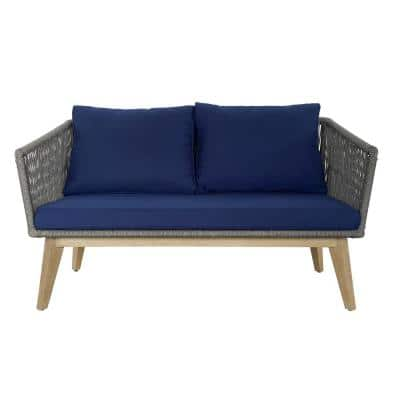 Wicker Rope Acacia Wood and Aluminum Outdoor Loveseat with Navy Blue Cushions