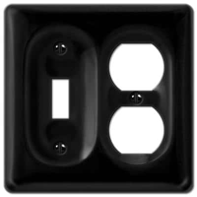 Allena 2 Gang 1-Toggle and 1-Duplex Ceramic Wall Plate - Black