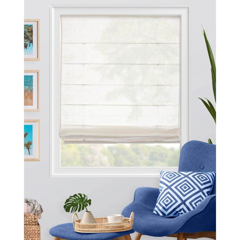 Chicology Pacific Ready Made White Cordless Light Filtering Semi Privacy Fabric Roman Shade 47 In W X 64 In L Rmpw4764 The Home Depot