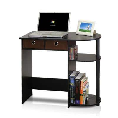 32 in. Rectangular Espresso 2 Drawer Computer Desk with Built-In Storage