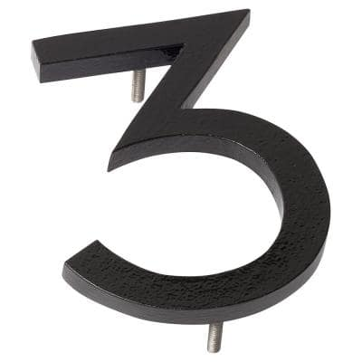 8 in. Black Aluminum Floating or Flat Modern House Number 3