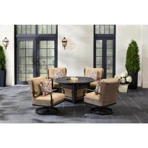Hazelhurst 5-Piece Brown Wicker Outdoor Patio Fire Pit Seating Set with Beige Tan Cushions