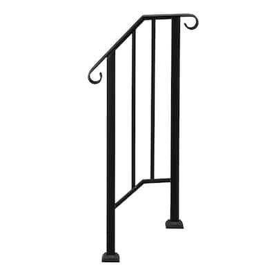 Transitional Handrail Stair Railing Fits 1-Step Iron Rail Kit