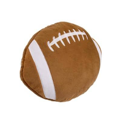 Sports Brown and White Football with Embroidery 11 in. x 15 in. Decorative Pillow