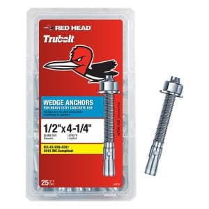 1/2 in. x 4-1/4 in. Zinc-Plated Steel Hex-Nut-Head Solid Concrete Wedge Anchors (25-Pack)