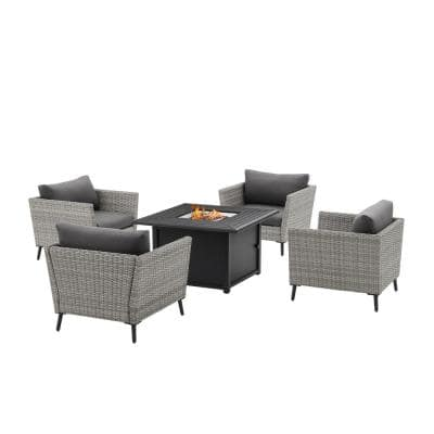 Richland Gray 5-Piece Wicker Patio Fire Pit Set with Gray Cushions