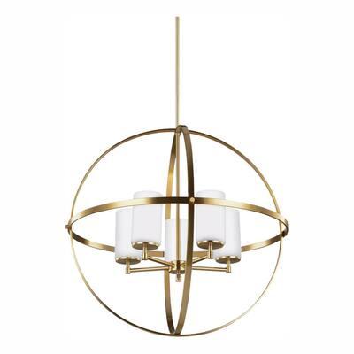 Alturas 5-Light Satin Brass Modern Hanging Globe Chandelier with LED Bulbs