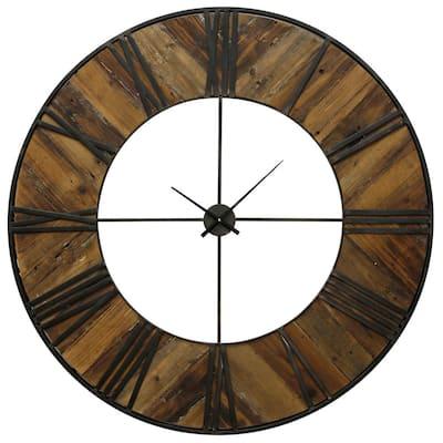 Transitional Natural, Black Roman Numeral Analog Clock