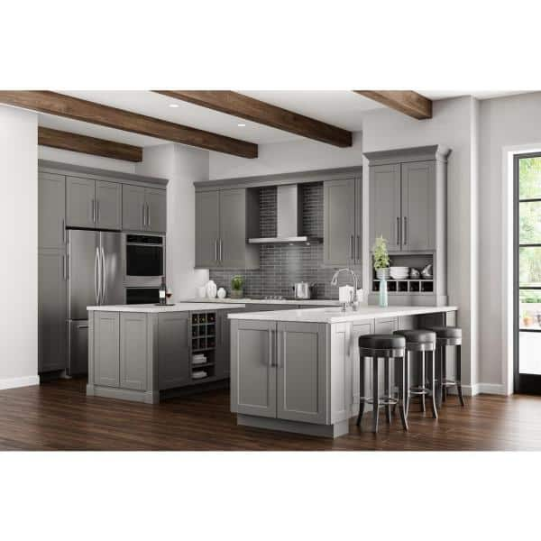 Hampton Bay Shaker Assembled 28 5x34 5x16 5 In Lazy Susan Corner Base Kitchen Cabinet In Dove Gray Kbls36 Sdv The Home Depot