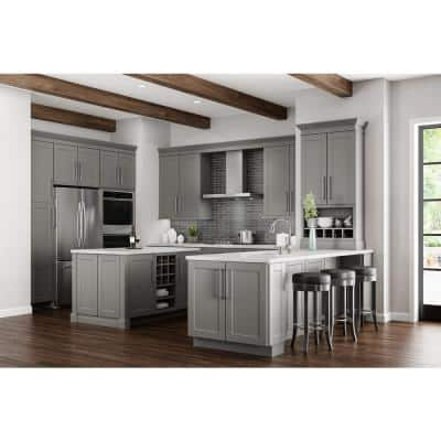Shaker Dove Gray Stock Assembled Pull Out Trash Can Base Kitchen Cabinet (18 in. x 34.5 in. x 24 in.)