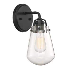 Elliott 1-Light Matte Black Wall Sconce with Clear Glass Shade