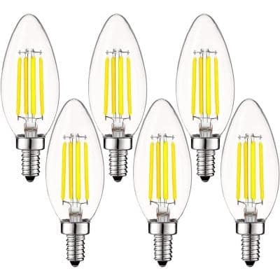 60-Watt Equivalent B10 Dimmable LED Light Bulbs Clear Glass Filament 5000K Bright White (6-Pack)