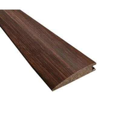 Hand Scraped Strand Woven Coffee Herringbone 0.40 in. Thick x 10.50 in. Wide x 72 in. Length Bamboo Reducer Molding