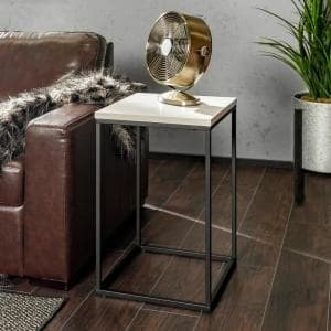 16 in. Modern Industrial Accent Side Table - Faux White Marble