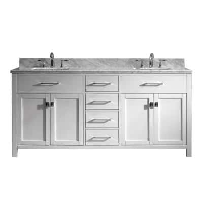 Caroline 72 in. W Bath Vanity in White with Marble Vanity Top in White with Square Basin