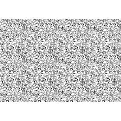 Black and White 5 ft. 10 in. x 8 ft. 6 in. Abstract Lines Indoor/Outdoor Vinyl Floor Rug