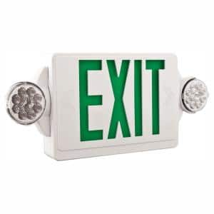 Contractor Select LHQM Series 120/277-Volt Integrated LED White and Green Exit Emergency Combo W/ 9.6 V Battery