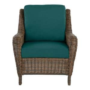 Cambridge Brown Wicker Outdoor Patio Lounge Chair with CushionGuard Malachite Green Cushions