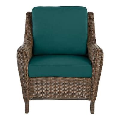 Cambridge Brown Wicker Outdoor Patio Lounge Chair with CushionGuard Malachite Green Cushions