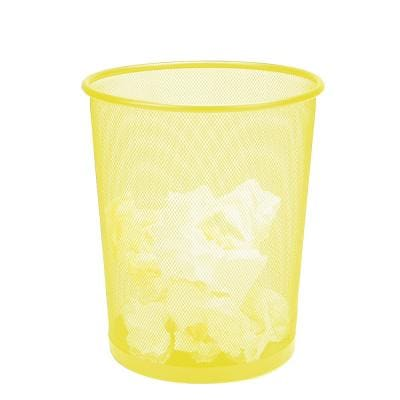 3 Gal. Yellow Round Open Metal Trash Can