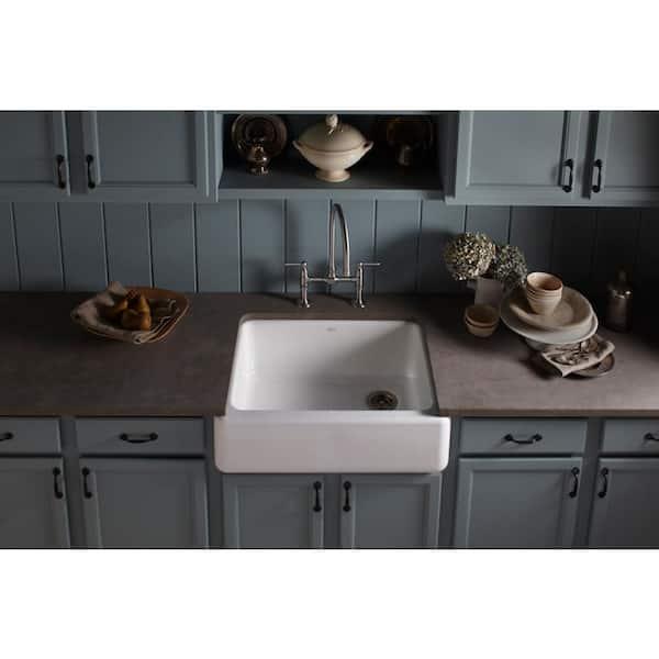 Kohler Whitehaven Farmhouse Undermount Apron Front Cast Iron 30 In Self Trimming Single Bowl Kitchen Sink In White K 6487 0 The Home Depot