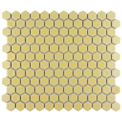 Hudson 1 in. Hex Vintage Yellow 11-7/8 in. x 13-1/4 in. Porcelain Mosaic (11.14 sq. ft./Case)