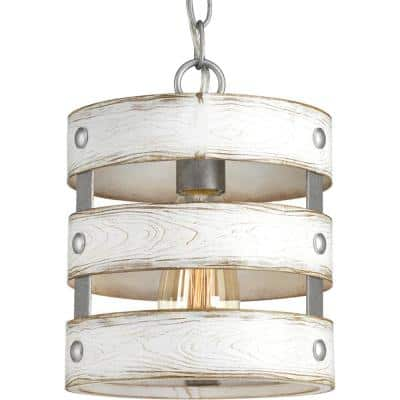 Gulliver 1-Light Galvanized Drum Pendant with Weathered White Wood Accents