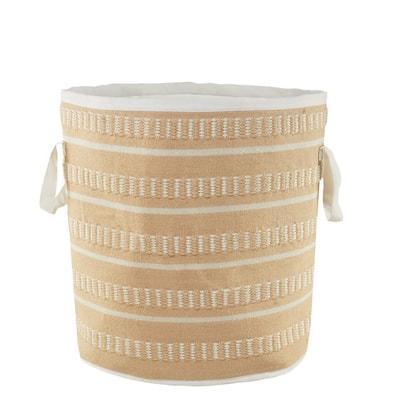 Dash Stripe Peach / White Geometric Polyester Indoor/Outdoor Storage Basket