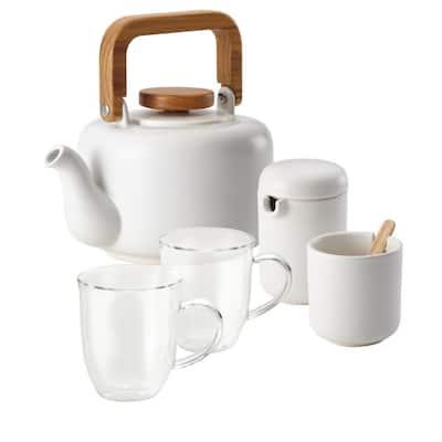 Coffee and Tea Teapot Set, 5-Piece, Matte White