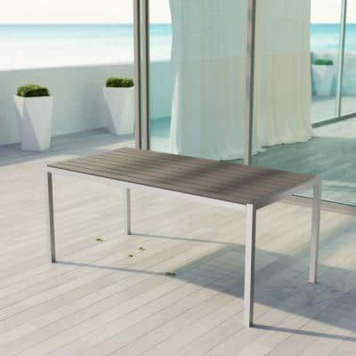 Shore Patio Aluminum Outdoor Dining Table in Silver Gray