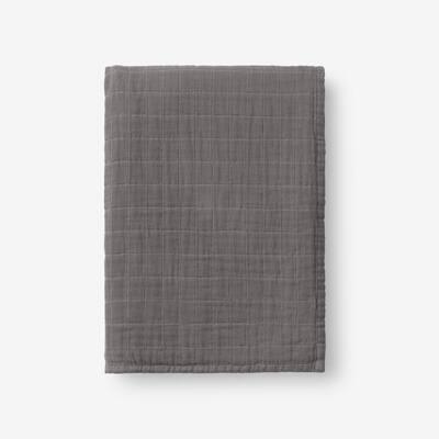 Gossamer Gray Smoke Solid Cotton Woven Throw Blanket