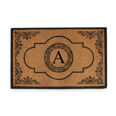 A1HC First Impression Hand Crafted X-Large Abrilina 36 in. x 72 in. Entry Coir Monogrammed Double Door Mat